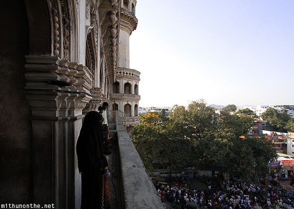 Charminar balcony view woman Hyderabad