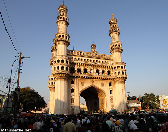 Charminar circle crowds Hyderabad India