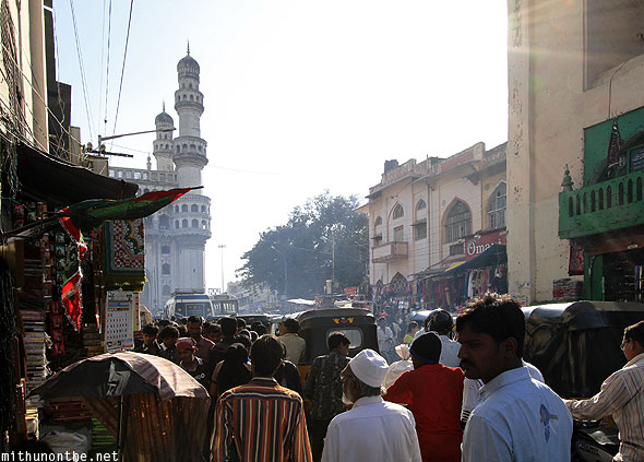 Charminar road crowded Hyderabad