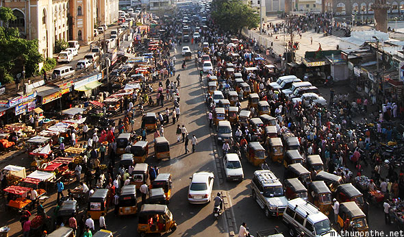Charminar traffic view from top Hyderabad