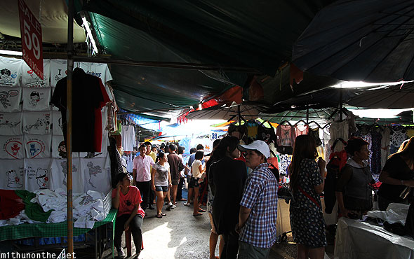 Chatuchak weekend market cheap t-shirts clothes Bangkok Thailand