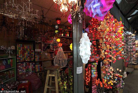 Chatuchak weekend market lights store Bangkok Thailand
