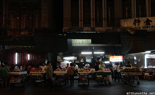 Chinatown Bangkok fruit vendors night
