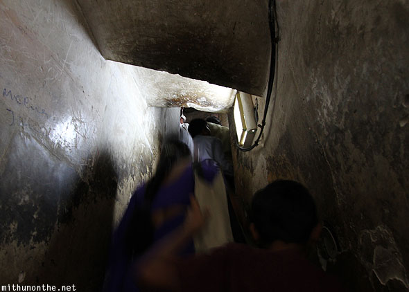 Climbing up minaret Charminar inside Hyderabad