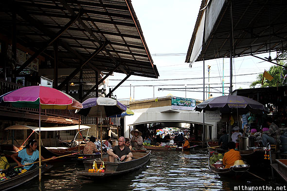 Damnoen Saduak floating market morning rush Thailand