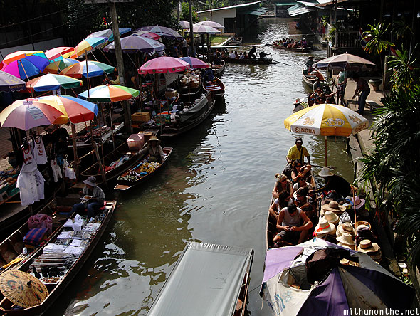 Damnoensaduak floating market morning Ratchaburi Thailand