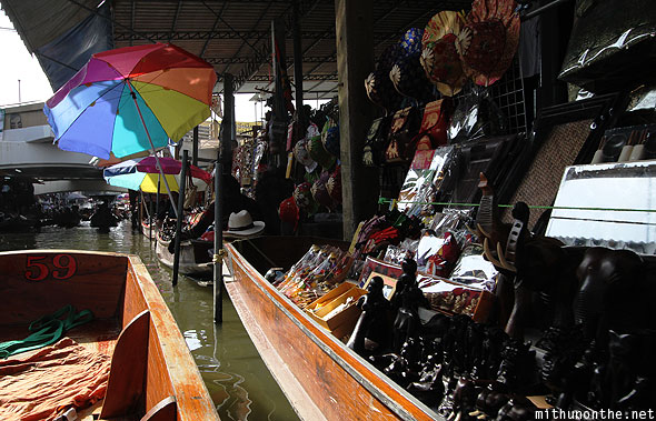 Damnoensanduak floating market souvenirs sale Thailand