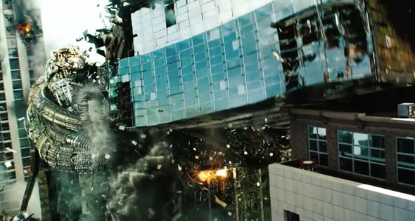 Decepticon crushing building in Transformers 3 Dark of the Moon