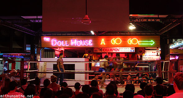 Dollhouse go-go bar Muay Thai boxing match Pattaya Thailand