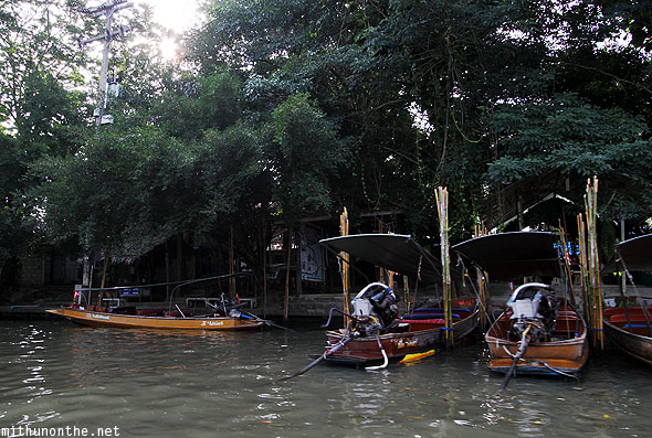Floating village longtail boats parked Thailand