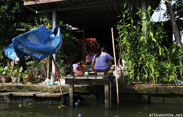 Floating village Thai women canal Bangkok
