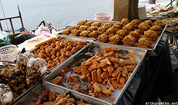 Fried fruit street hawker Bangkok Thailand