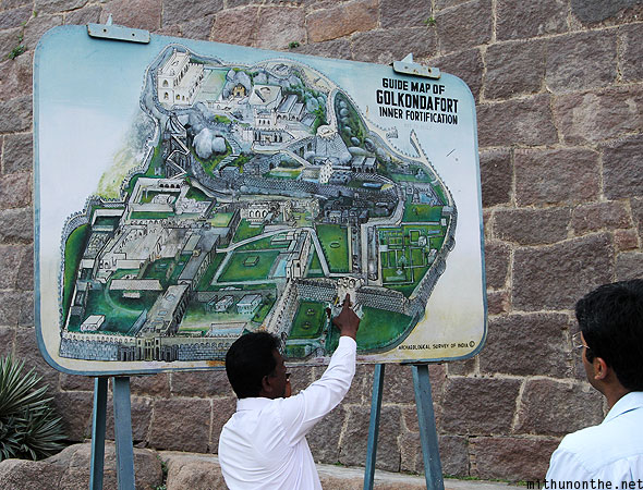 Golconda Fort guide map Hyderabad India