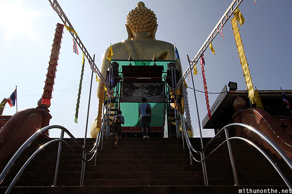 Golden triangle temple steps to buddha statue