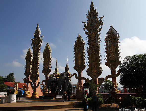 Golden triangle temple structures Mae Sai Thailand