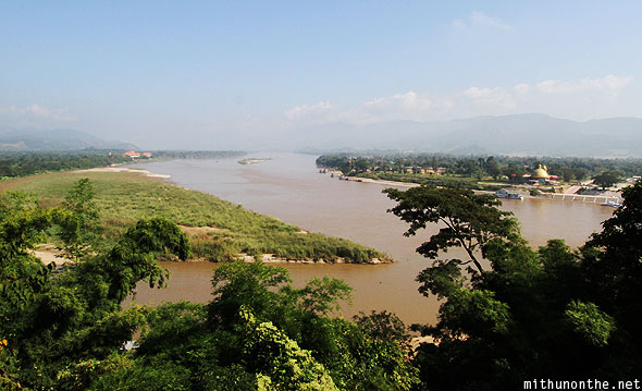 Golden Triangle view Mekong river from hill Mae Sai Chiang Rai