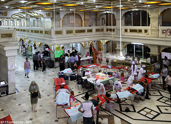 Gurdwara main hall Sikhs blood donation Bangkok