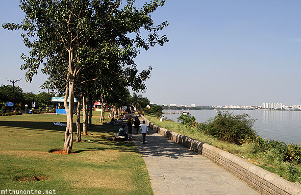 Hussain Sagar lake park afternoon Hyderabad