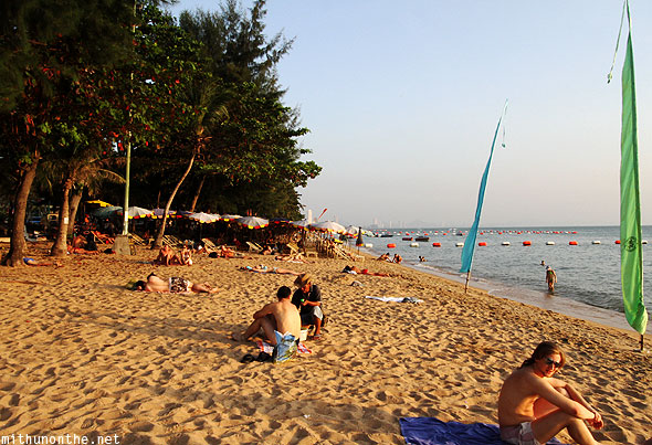 Jomtien beach tourists Pattaya Thailand