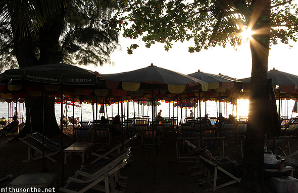 Jomtien beach umbrellas chairs Pattaya Thailand