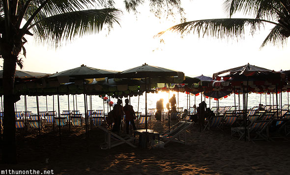 Jomtien beach umbrellas sunset Pattaya Thailand