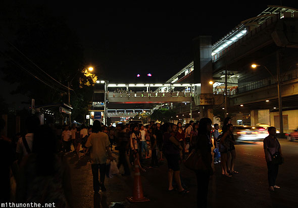 Mo Chit BTS station at night Bangkok Thailand