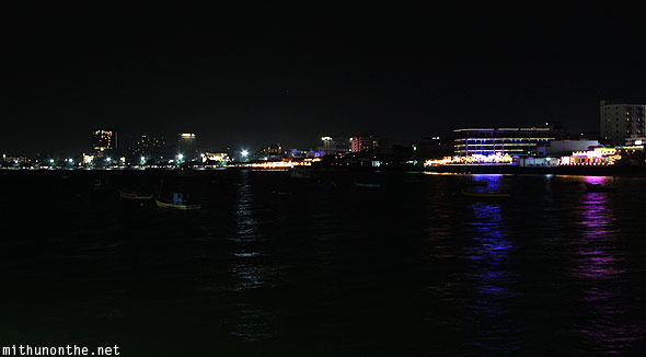 Pattaya Bay at night Thailand waters