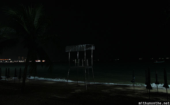Pattaya Bay beach at night lifeguard