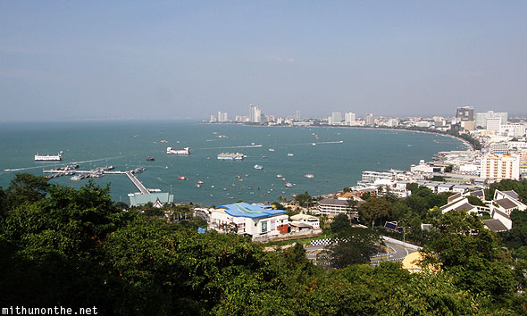 Pattaya bay from viewpoint hill