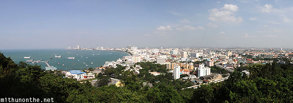 Pattaya bay panorama view of city and sea