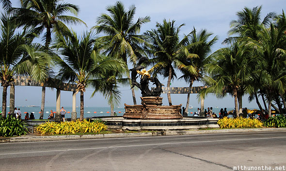 Pattaya beach road fountain monument Thailand