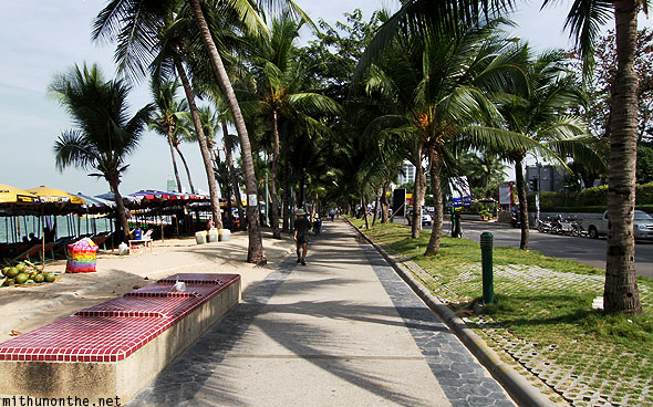 Pattaya beach road walk morning Thailand