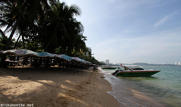 Pattaya beach umbrellas speedboats