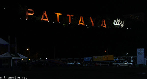 Pattaya City hill sign at night