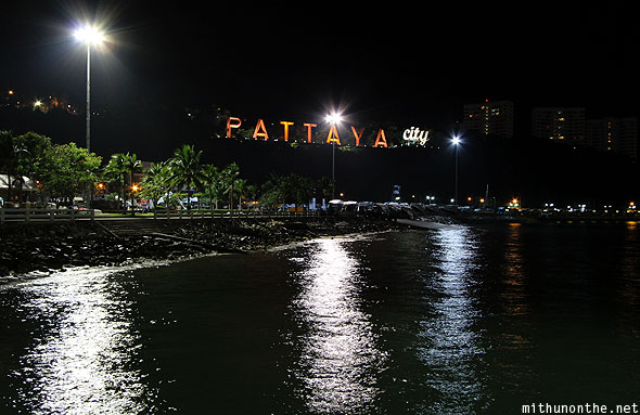 Pattaya city sign sea lights