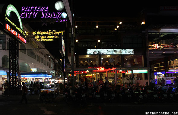 Pattaya City Walk restaurants beach road Thailand