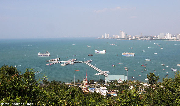 Pattaya new pier from viewpoint hill