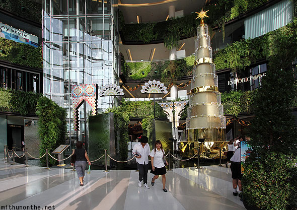 Siam Paragon mall interior Christmas tree decorations Bangkok