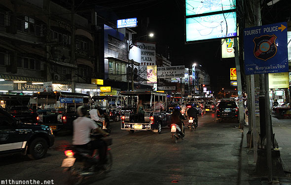 South Pattaya road at night Thailand