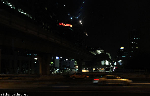 Sukhumvit Bangkok MRT pillars at night