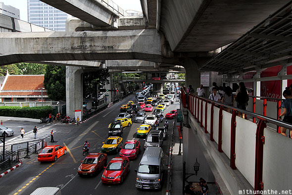 Sukhumvit road Bangkok city traffic skywalk