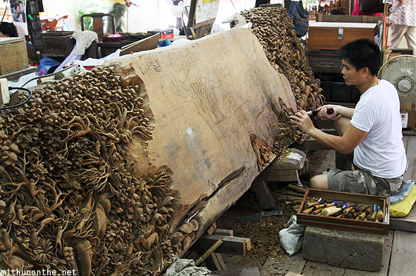 Teakwood amazing woodwork craftsman artist Thailand
