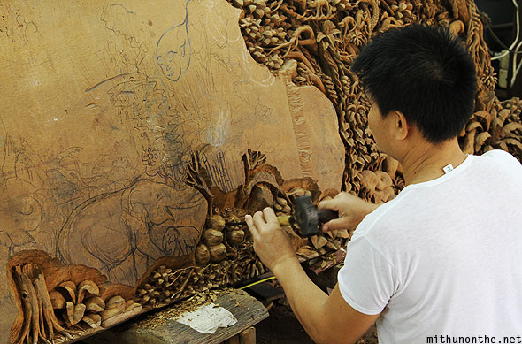 Teakwood detailed amazing woodwork craftsman artist Thailand
