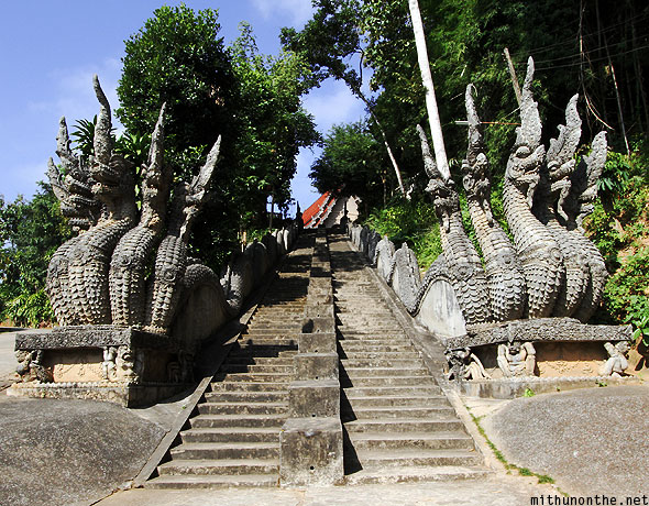 Temple entrance steps Mae Sai Thailand