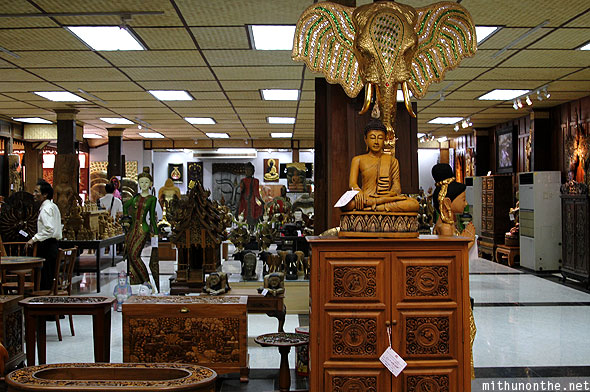Thai wood handicrafts showroom Thailand