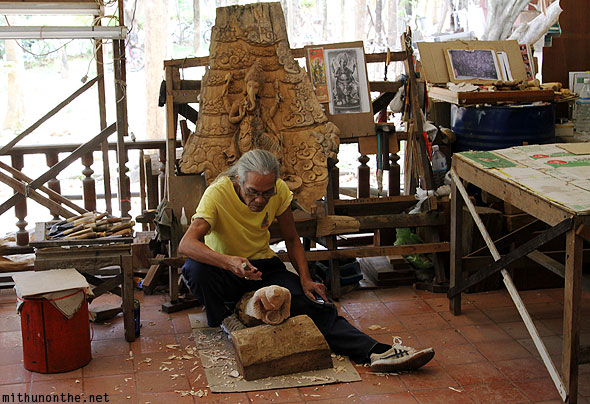 Thailand wood craftsman at work