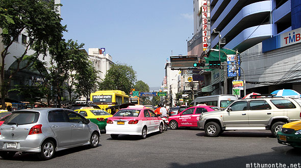Triphet road junction traffic Bangkok