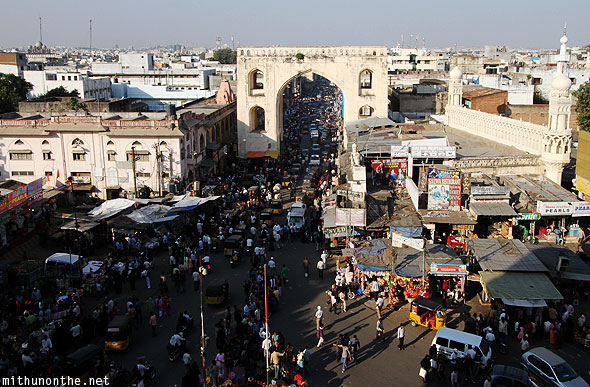 View from Charminar bazaar Hyderabad