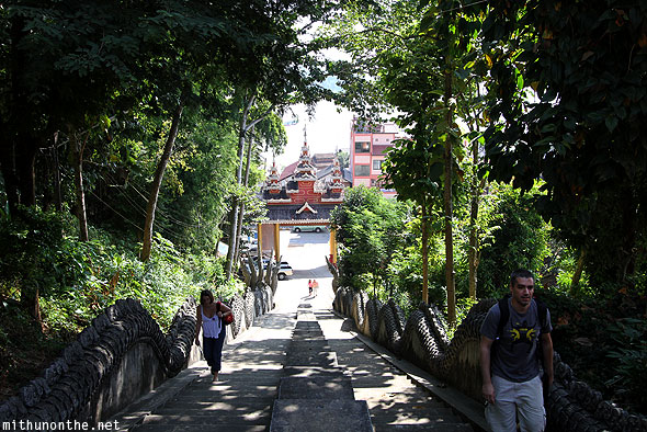 Wat Phra That Pu Khao dragon steps tourists Mae Sai