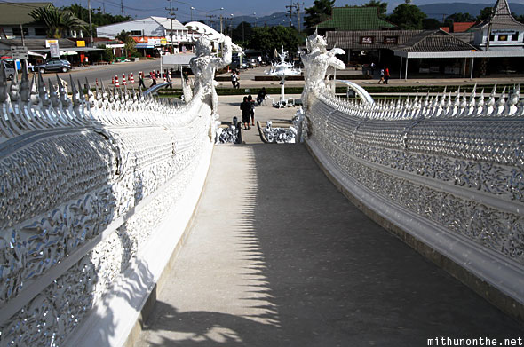 Wat Rong Khun white temple entrance path